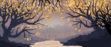 Natuurlijk landschap met bosje en bomen in de voorgrond Dichte bosillustratie vector illustratie