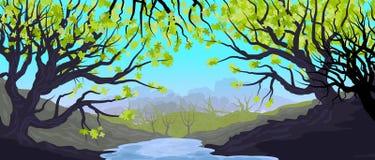 Natuurlijk landschap met bosje en bomen in de voorgrond Dichte bosillustratie stock illustratie