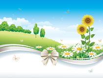 Natuurlijk landschap met madeliefjes en zonnebloemen royalty-vrije illustratie
