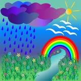 Natuurlijk landschap met Regenboog Stock Afbeelding