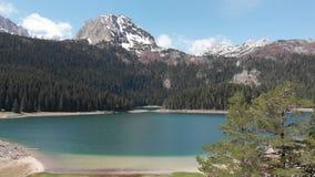 Natuurlijk landschap Mountain Lake Satellietbeeld op Zwart meer in Nationaal park Durmitor montenegro stock video