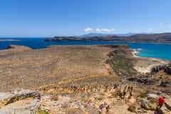 Natuurlijk landschap van het eiland Imeri Gramvousa Stock Foto