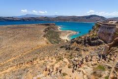 Natuurlijk landschap van het eiland Imeri Gramvousa Stock Foto's