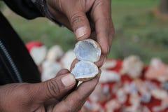 Natuurlijk mineralenaquamarijn Stock Afbeeldingen