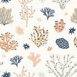 Natuurlijk naadloos patroon met oranje en blauwe koralen, zeewier of algen Achtergrond met oceanic species, aquatische flora en stock illustratie
