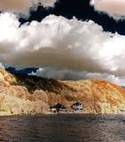 Natuurlijk panoramisch infrarood landschap van Messe-rivier Stock Foto