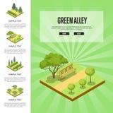 Natuurlijk parklandlandschap met groene steeg royalty-vrije illustratie