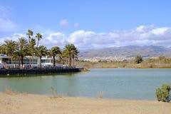 Natuurlijk reservela Charca en duinen van Maspalomas De Canarische Eilanden Gran Canaria, Spanje - 13 02 2017 Stock Afbeeldingen