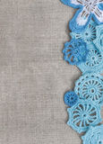 Natuurlijke achtergrond - linnen en met de hand gemaakt kant Stock Foto