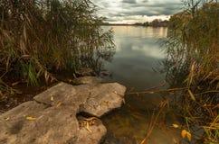 Natuurlijke achtergrond met steen, gras en water royalty-vrije stock afbeelding