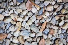 Natuurlijke achtergrond van kiezelstenen in het park met droge bladeren Stock Fotografie