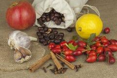 Natuurlijke Apotheek Traditionele geneeskunde voor griep en koude Natuurlijke behandeling van ziekte Plaats voor uw tekst Stock Foto's
