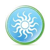 Natuurlijke aqua cyaan blauwe ronde knoop van het zonpictogram royalty-vrije illustratie