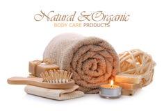 Natuurlijke bad, sauna en lichaamsverzorgingproducten stock fotografie