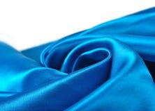 Natuurlijke blauwe de textuurachtergrond van de satijnstof Stock Afbeeldingen