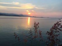 Natuurlijke bloemenmeningsachtergrond van zonsondergang Koh Samui Thailand Royalty-vrije Stock Afbeelding