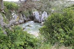 Natuurlijke die pool van struiken in Gulpiyuri-strand wordt omringd stock afbeeldingen
