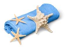 Natuurlijke die zeesterren op gerolde handdoek worden geplaatst Royalty-vrije Stock Foto