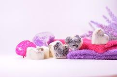 Natuurlijke droge lavender spa zeepharten stock foto