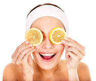 Natuurlijke eigengemaakte fruit gezichtsmaskers. stock afbeelding