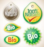 Natuurlijke en bioproductetiketten Royalty-vrije Stock Fotografie