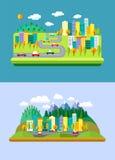 Natuurlijke en stedelijke landschappen Stock Afbeeldingen