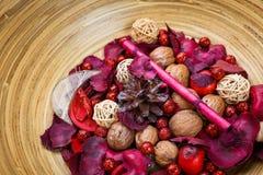 Natuurlijke gekleurde decoratie van noten in kom Royalty-vrije Stock Foto