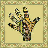 Natuurlijke gekleurde, etnische stammenpalm Stock Illustratie