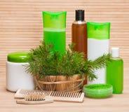 Natuurlijke haarverzorgingschoonheidsmiddelen en toebehoren royalty-vrije stock foto