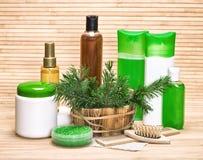 Natuurlijke haarverzorgingschoonheidsmiddelen en toebehoren Stock Afbeeldingen