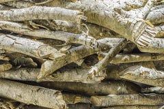 Natuurlijke houten achtergrond - close-upstapel van brandhout Voorbereiding van brandhout voor de winter en het gebruik voor het  Stock Fotografie