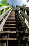 Natuurlijke houten trap aan hemel Stock Foto