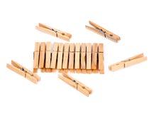 Natuurlijke houten wasknijpers Stock Fotografie