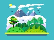 Natuurlijke landschappen in een vlakke stijl Royalty-vrije Stock Afbeeldingen