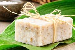 Natuurlijke met de hand gemaakte zeep op een groen blad Stock Fotografie