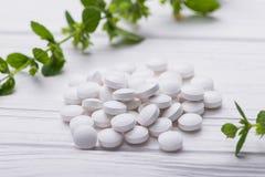Natuurlijke organische pillen met kruideninstallatie Royalty-vrije Stock Afbeelding