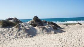 Natuurlijke, oude en beschermde zandduinen op de Atlantische westelijke kust van Portugal, Peniche, Baleal Stock Foto's