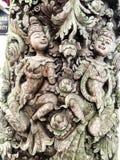 Natuurlijke oude houten ontwerpkunst het hunkeren naar levensstijl Thailand Stock Afbeelding