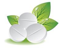Natuurlijke pillen met groene bladeren royalty-vrije illustratie