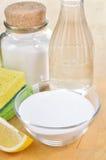 Natuurlijke reinigingsmachines. Azijn, zuiveringszout, zout en citroen. Stock Afbeeldingen