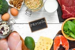 Natuurlijke rijken in eiwitproducten - vlees, vissen, gevogelte, eieren, zuivelfabriek, noten en erwten Gezond voedsel en dieetco royalty-vrije stock foto's