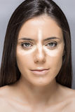 Natuurlijke samenstellingsschoonheid Meisjesgezicht Royalty-vrije Stock Afbeelding