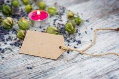 Natuurlijke schoonheidsmiddelen, Exemplaarruimte voor lavendel stock afbeelding