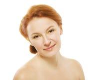 Natuurlijke schoonheidsvrouw op witte achtergrond Royalty-vrije Stock Afbeeldingen