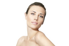 Natuurlijke schoonheidsvrouwen op witte achtergrond Royalty-vrije Stock Foto's