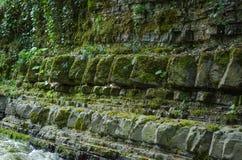 Natuurlijke steenmuur Het park van Sotchi Royalty-vrije Stock Foto