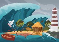 Natuurlijke sterke ramp met regen en tsunamigolven van oceaan met houten dok, huis, palmen en vuurtoren royalty-vrije illustratie