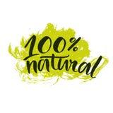 Natuurlijke sticker met met de hand geschreven borstel Royalty-vrije Stock Afbeeldingen