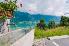 Natuurlijke tapkraan op de manier aan de stad van Interlaken Stock Foto's