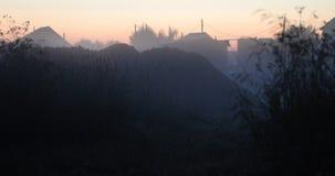 Natuurlijke vegetatie en mist in de avond op de achtergrond van dorpshuizen stock video